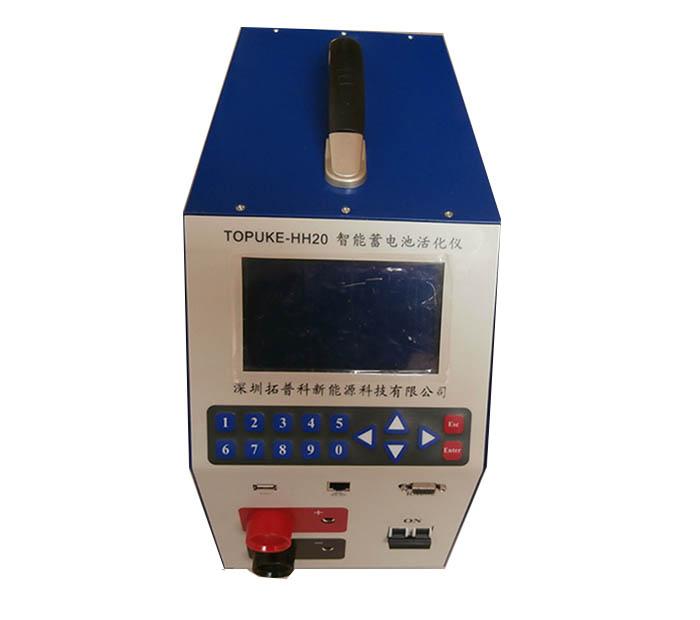 TOPUKEHHXX系列智能蓄电池活化仪 产品介绍:  TOPUKEHHXX系列智能蓄电池活化仪是对单体电池进行日常维护的全能工具,也是对电池在线进行容量恢复的利器。 该系列智能蓄电池活化仪以微电脑为控制中枢可对电池进行可编程的充电、放电、活化、内阻测试、容量试验等。本活化仪有过压、过流、过热保护电路,在线活化时可自动启动旁路装置,保证在市电掉电后电池组正常工作,是真正的在线活化仪。 活化仪随机配备管理软件,可对蓄电池的各种维护操作数据和充放电曲线进行存贮、分